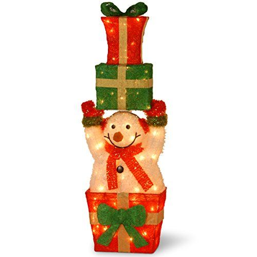 """Santa's Little Helper Collection 32"""" Tinsel Snowman Holding Sisal Gifts with 55 Clear Outdoor Lights >>> Want to know more, click on the image. This is an affiliate link."""