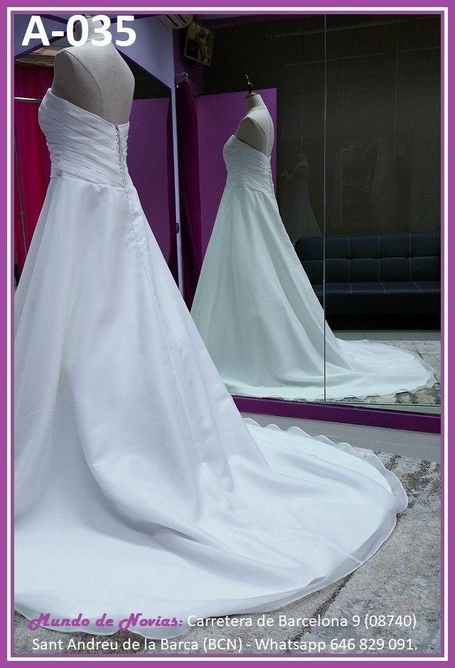 Elegante y original Vestido de Novia de Corte A con escote corazón, de Satén, de la marca Novias Ukraine.