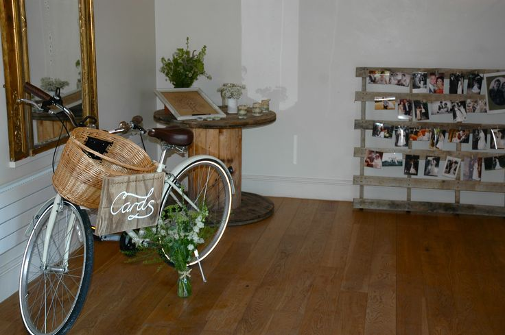 Vintage bike used for 'card box' #granaryestates #granarybarns #vintagebike #cardbox #barnwedding #countywedding