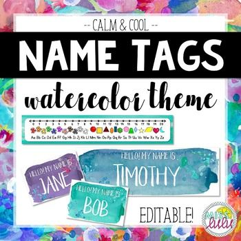 These watercolor name tags will look amazing in your classroom and are a perfect way to customize your student's desks, chairs, lockers or other belongings. Load your class list and print! This product includes:Instructions & font recommendations2 sizes of editable name tags in 4 calm & cool colorsSkinny desk reference tags IMPORTANT This product contains editable elements.