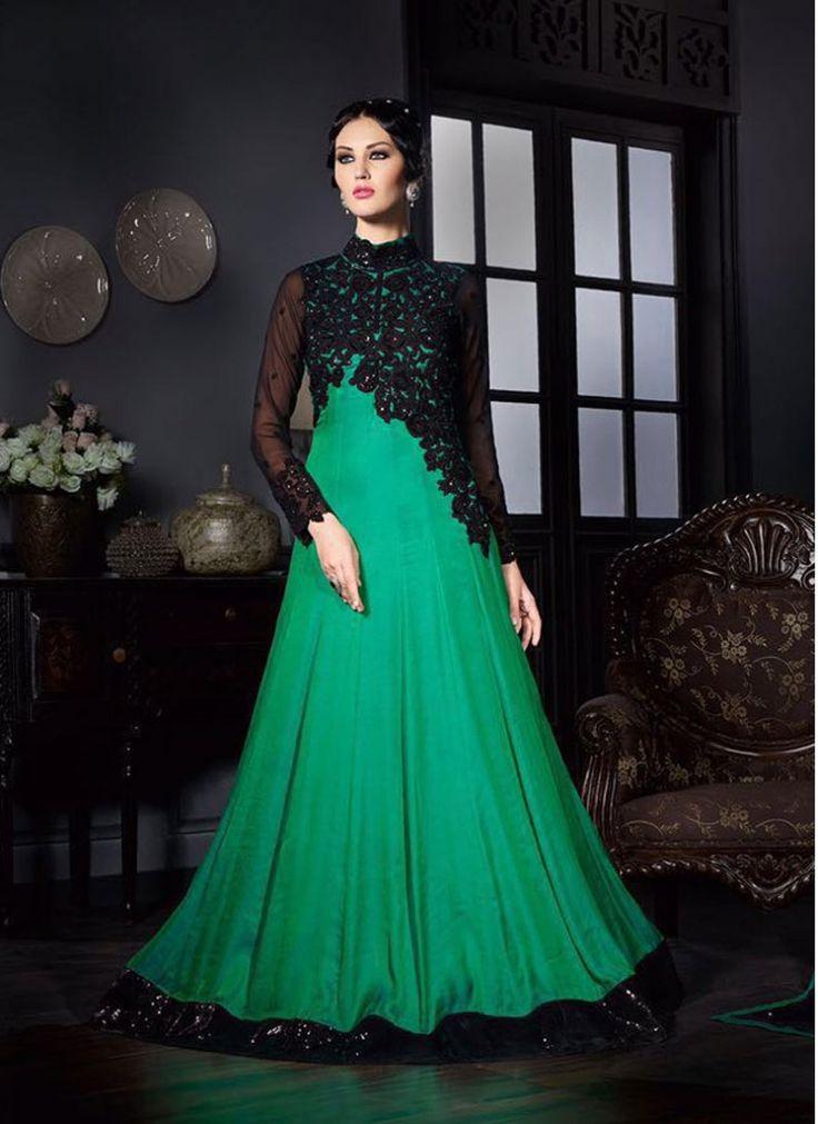 Attractive Faux Georgette Shimmer Work Sea Green Designer Floor touch Anarkali suit