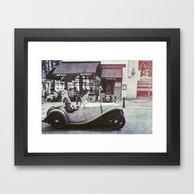 Be Cool Framed Art Print by Stoneriver - $35.00  #canada #britishcolumbia #vancouver #gastown #city #cityscape #blackandwhite #bw #mono #monochrome #car #vintagecar #vintage #old #travel #world #present #framedprint