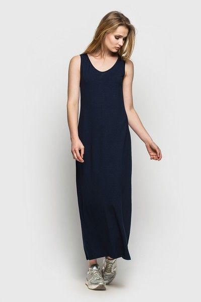 Трикотажное платье майка макси синее