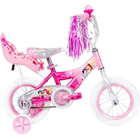 12 inch Huffy Disney Princess Girls' Bike with Doll Carrier, Multicolor