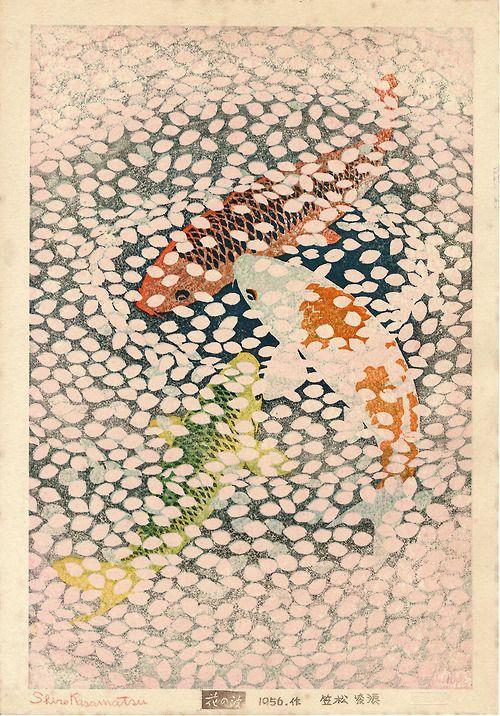 """Hana no nami"" 花の波 (Wave of flowers). 1956 • Kasamatsu Shiro 笠松紫浪 (1898-1991). Medium: woodblock print"