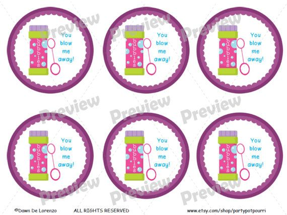This Tag: You Blow Me Away! Gift Tag For Bubbles, Horn, Flute