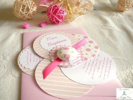 faire-part baptême original fille fleur rose  : Faire-part par les-creations-du-lapin-bleu