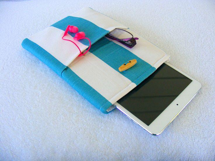"IPad Mini Cover, Kindle Fire Case, IPad Mini Case, Kindle Fire Cover, Nook Cover, Small Tablet Cover, Turquoise Stripes, 8 3/4"" x 6"" by LindaLeasBoutique on Etsy"