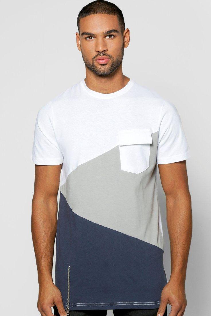 Splice T Shirt With Front Zip at boohoo.com