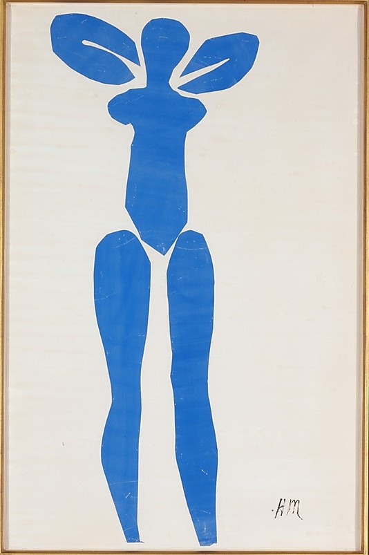 Blue Nude, Henri Matisse, 1952, cut and pasted painted papers - the medium is different, but the pose, form, and color are definitive Matisse
