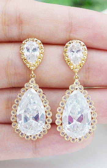 Luxury Cubic Zirconia Bridal Earrings from EarringsNation Gold Weddings
