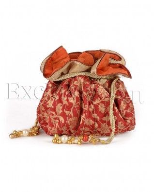 #Exclusivelyin, #IndianEthnicWear, #IndianWear, #Fashion, Round Red Quilted Potli Bag