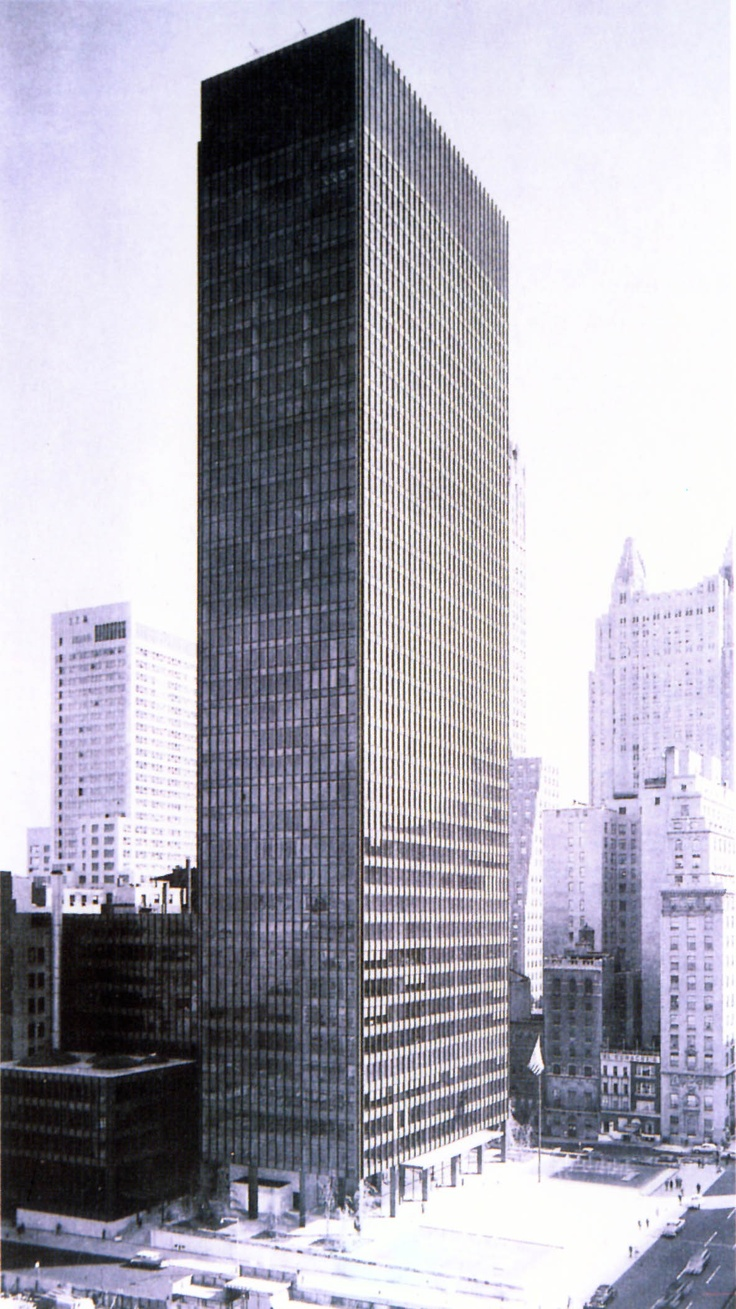 seagram building new york city mies van der rohe philip johnson 1957 mies ludwig mies van. Black Bedroom Furniture Sets. Home Design Ideas