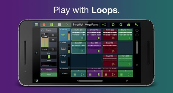 Stagelight is the easiest way to create music on your Android phone or tablet. With Stagelight, you can make beats, mix loops or even create full multi-track songs with drum, instrument, audio and vocal tracks.