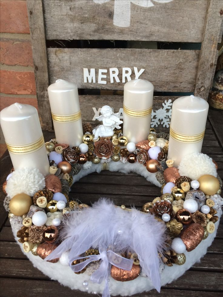 Advent wreath centerpiece diy craft white brown gold rosegold Angel angelwing bow candles