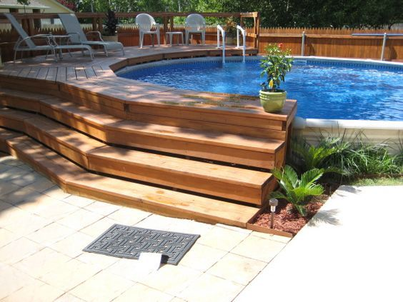 250 best swimming pools water holes images on pinterest for Above ground pool decks for small yards