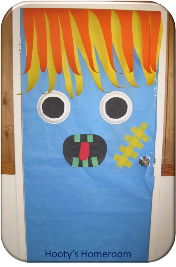 monster door forget needing a classroom to do this you can do it on halloween classroom doorhalloween door decorationshalloween decorating ideasdoor