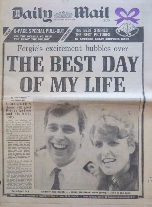 Royal Wedding Day 1986 . Prince Andrew Sarah Ferguson Daily Mail Newspaper