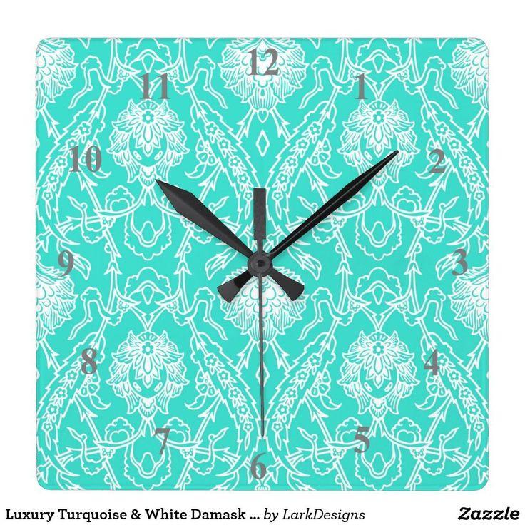 Luxury Turquoise & White Damask Decorative Pattern Square Wall Clock