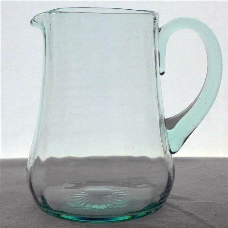 Kanna i glas, tillbringare, optikblåst, gröntonad glasmassa på Tradera.