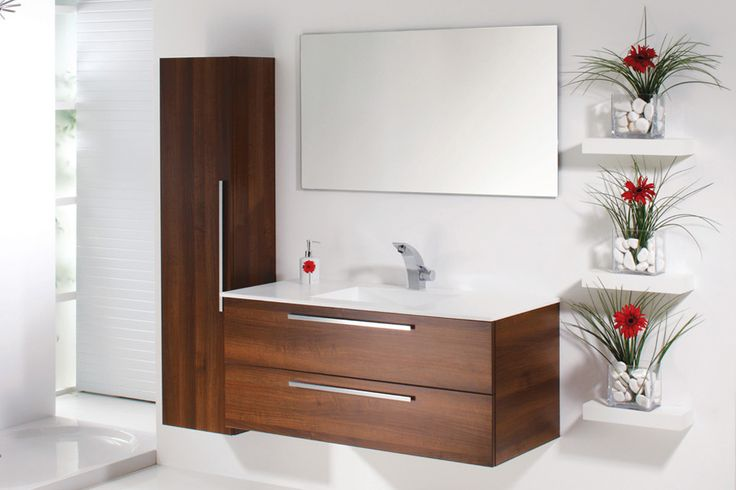 Topex Armadi Art walnut wall hung bath vanity with white acrylic square sink from our Aqua collection!