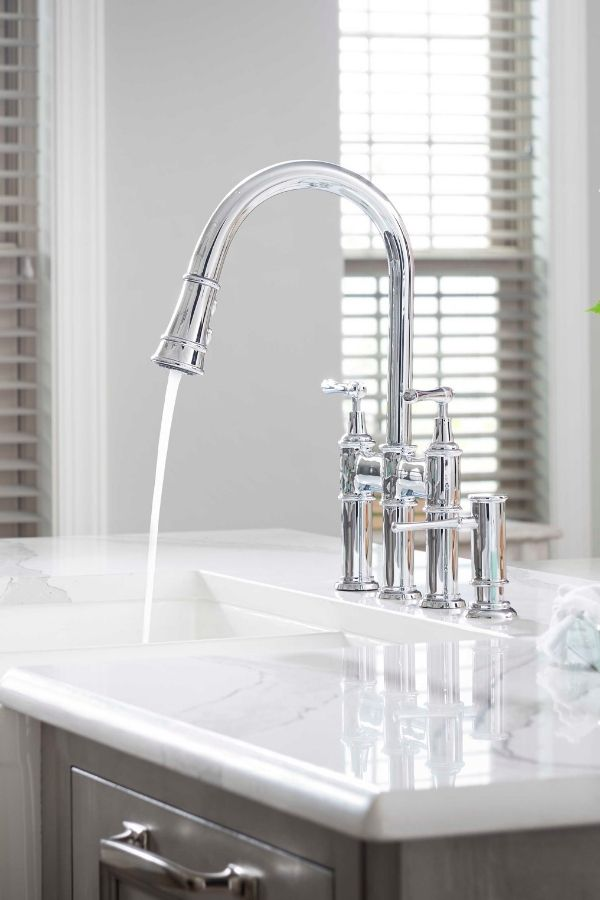 Download Wallpaper White Three Hole Kitchen Faucet