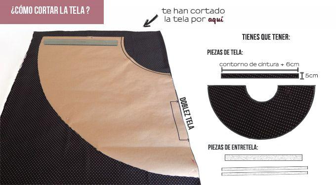 ¡Hola!   Para esta semana traigo esta bonita falda semicircular con botonadura  en la parte frontal. El tejido que he usado es un punto d...