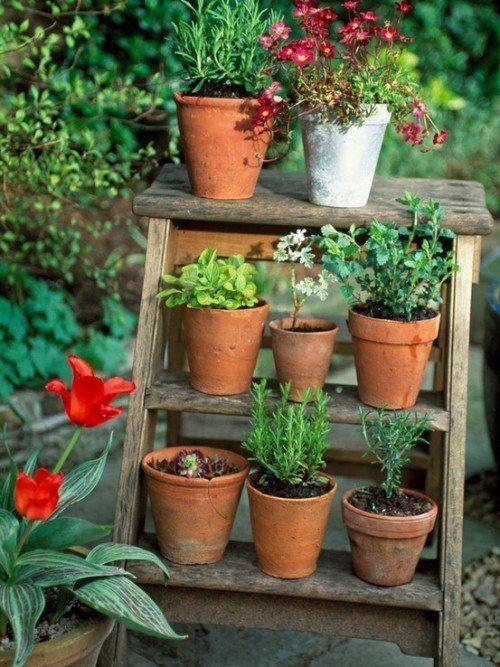 Die 25+ Besten Ideen Zu Blumenleiter Auf Pinterest | Shabby Chic ... Blumenstander Selber Bauen Alte Holzleiter