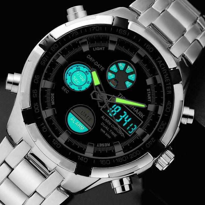 Назад в школу мужчины военный спорт часы двойной время кварцевый цифровой часы из светодиодов сталь wristwathes 2 шт. / много