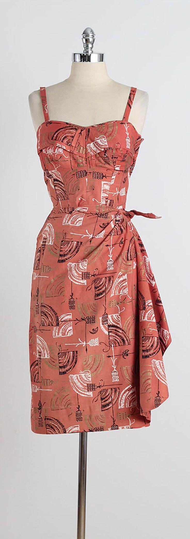 1950s Hawaiian Tiki Print Cotton Sarong Dress