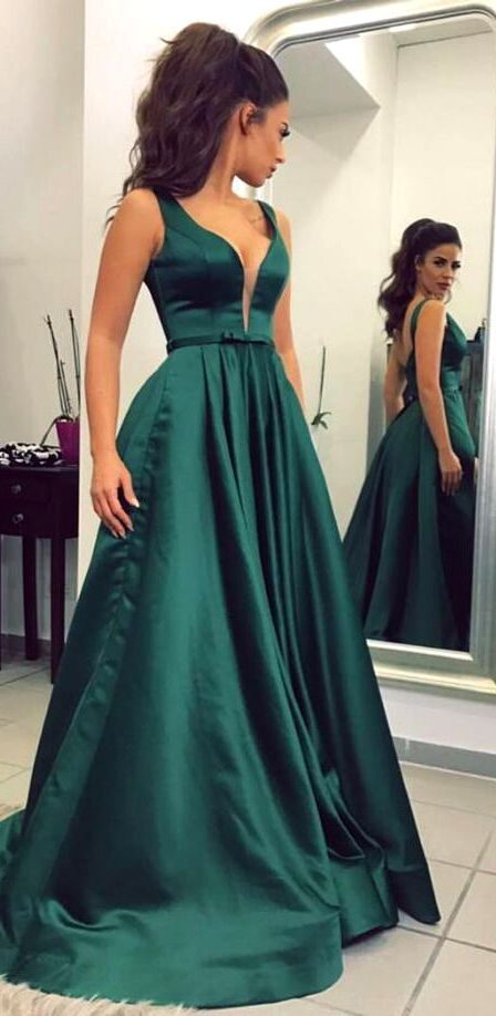 d28cea67cef Gorgeous Straps Deep V Neck Satin Long Prom Dress Dark Green Formal Evening  Gown Elegant Prom Gown Dark Green Wedding Party Dress #dress #gown #prom ...