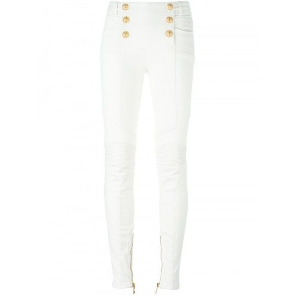 Balmain High-Waist Pants With Embroidered Buttons ($860) ❤ liked on Polyvore featuring pants, high-waisted pants, high waisted pants, ripped pants, white high waisted pants and ripped skinny jeans