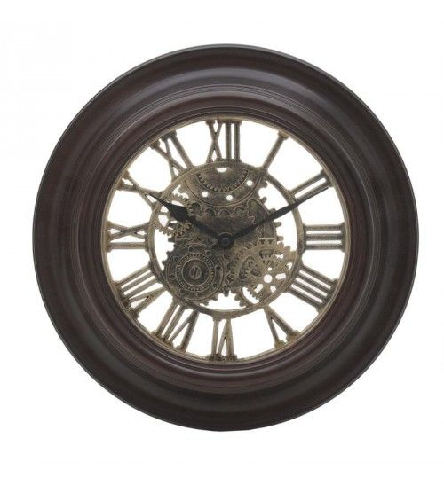 POLYRESIN WALL CLOCK IN DARK BROWN COLOR D31X4_5