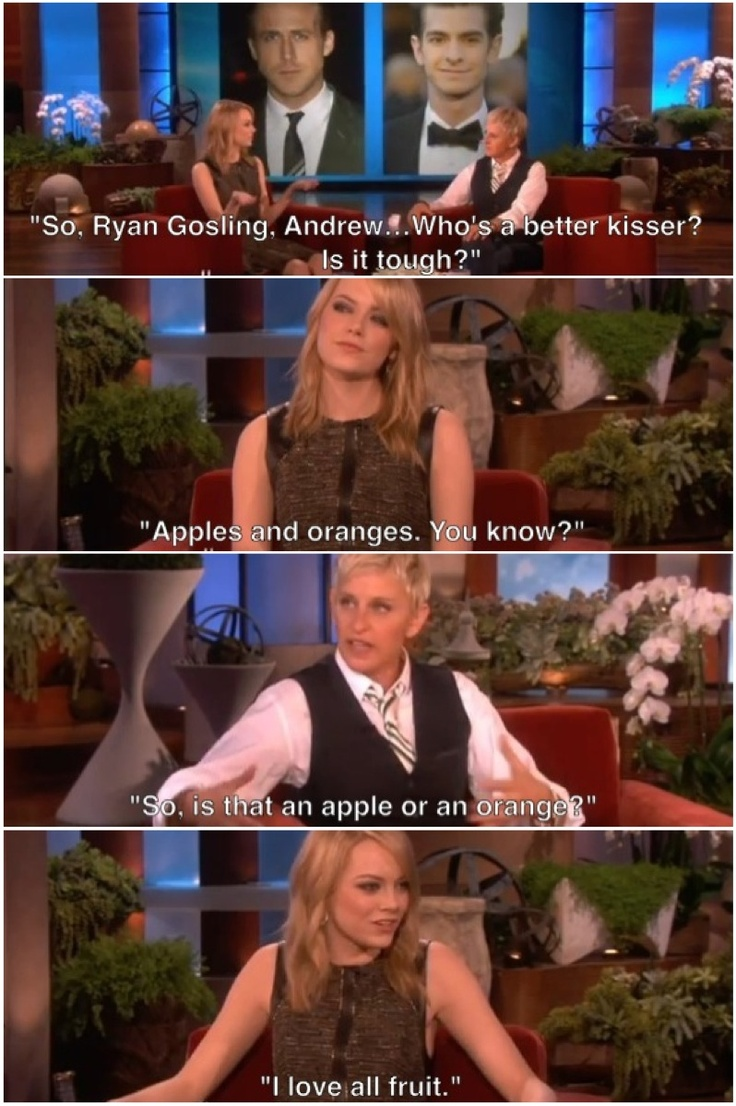 Emma Stone talking to Ellen about Ryan Gosling and Andrew Garfield. She is perfect.