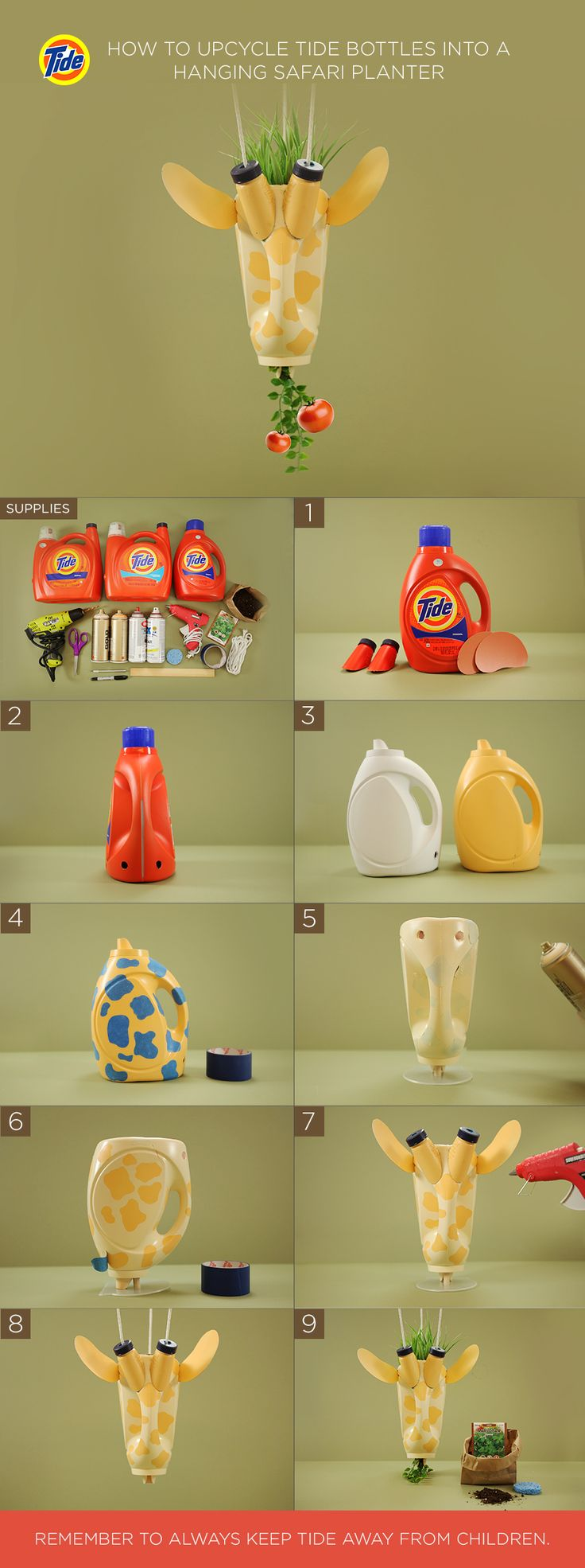 """How to Upcycle Tide Bottles Into a DIY Hanging Safari Planter: (1)Rinse bottles. Cut spouts and ears from extra-large Tide bottles. (2)Drill 2 holes in front and 1 in back. Cut 1 diagonal slit on each side. Remove bottle bottom. (3)Prime. Then paint with spot color. Let dry. (4)Add painter's tape cutouts. (5)Paint with topcoat. Let dry. (6)Remove tape. (7)Hot glue on ears and horns. (8)String rope. (9)Cut sponge into a doughnut. Place inside over spout. Add ¼"""" soil, seeds, then, more soil."""