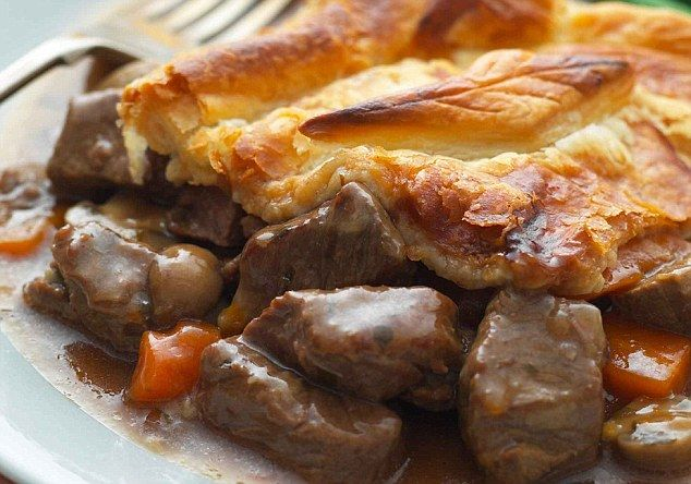 ::SteakMushroom Pie::Sear 24oz steak cubes-Add 1onion cook 3 mins until soft-Add beefstock(15oz), mushrooms(8oz), 1 carrot, 2T fresh parsley  boil, reduce heat. Cover and simmer 1.5 hours.220°C/425°F.Saltpepper. Stir in 2T cornflour premixed with 3-4T water, cook til thickened. Put in an oblong baking dish.Lay 8oz puff pastry on top Brush with milk. Bake 25-30 mins.