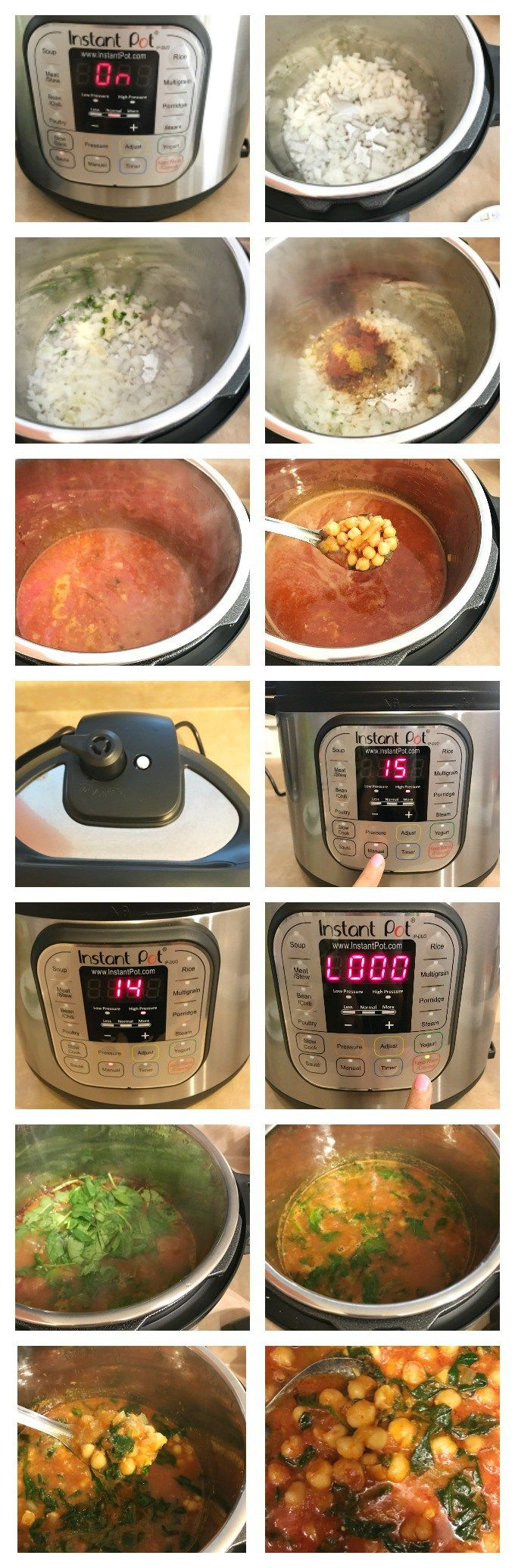 Instant Pot spinach chana masala - vegan & gluten-free makes a healthy weeknight meal . Instant pot chickpea curry from scratch makes a delicious meal .