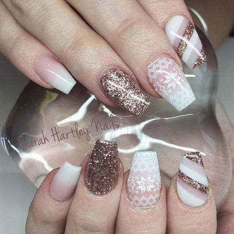 Whether you're a neutral gal or a hot pink gal, we have the perfect snowflake nail design.