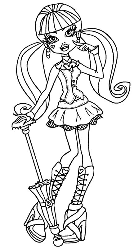 Draculaura Cute Coloring Pages