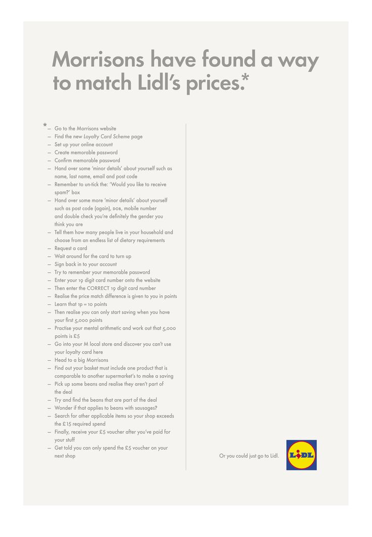 Budget supermarket Lidl pokes fun at rival Morrisons' price-matching pledge with this long-copy ad.