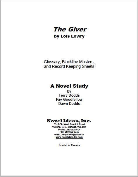 2057.09-BLMTG The Giver (by Lois Lowry) Blackline Masters* (2016 Edition)