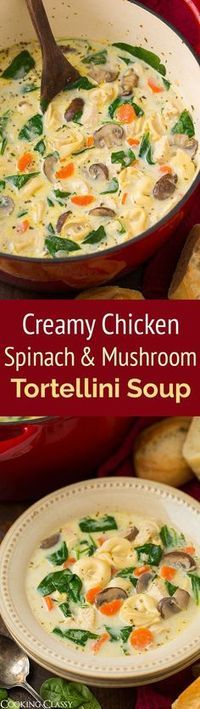 Creamy Chicken, Spinach and Mushroom Tortellini Soup - this hearty, comforting soup does not disappoint! Definitely a recipe worthy of your dinner rotation!