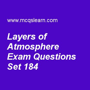Practice test on layers of atmosphere, general knowledge quiz 184 online. Practice GK exam's questions and answers to learn layers of atmosphere test with answers. Practice online quiz to test knowledge on layers of atmosphere, federal bureau of investigation, international civil aviation organization, types of cells, sir frederick grant banting worksheets. Free layers of atmosphere test has multiple choice questions as ionosphere layer of atmosphere is part of the, answers key with…