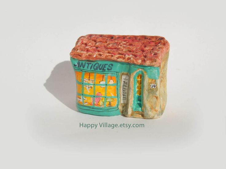 Antiques Shop / Little Clay House / Happy Village artwork / Clay Houses / Happy Village art / Miniature Houses / Little House / Small Shop  #etsyshop #etsystore #etsyseller #etsymaker #tinyhouse #miniaturehouse #littleclayhouses #littleclayhouse #ceramist #ceramicart #ceramichouse #handmade