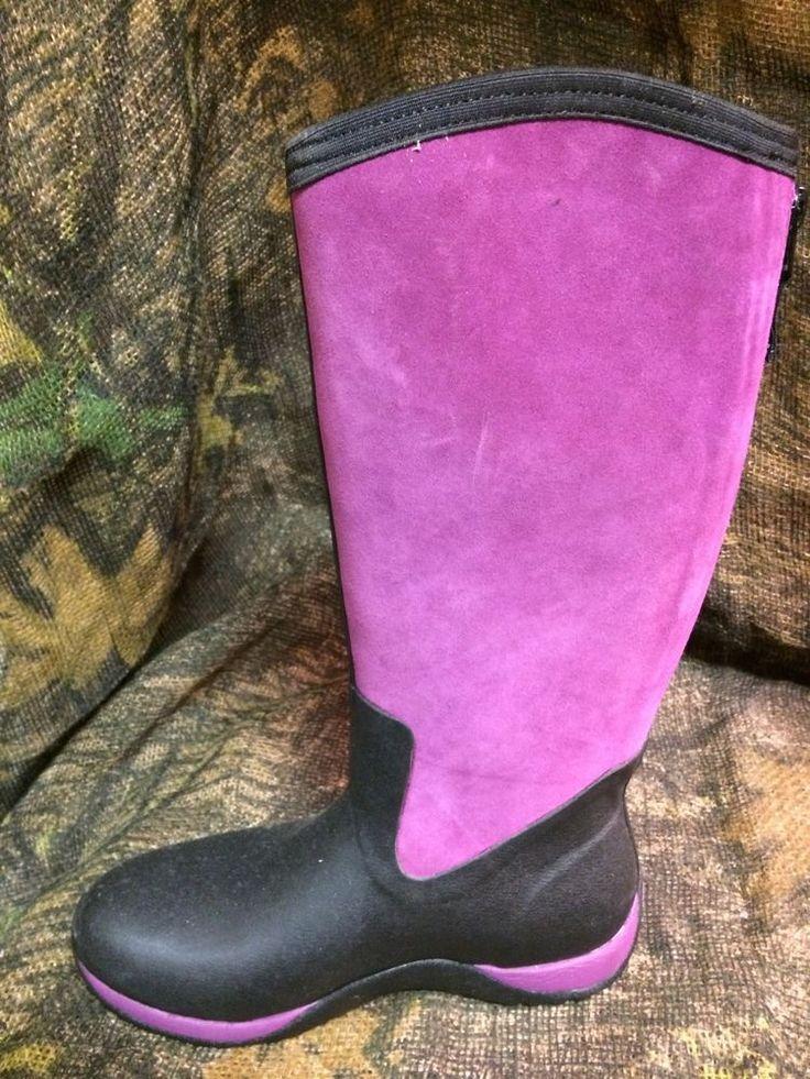 Womens Muck Boots Artic Adventure Zip Suede Winter Boots Size 9 Black/Purple NIB #MuckBoots #SnowWinter