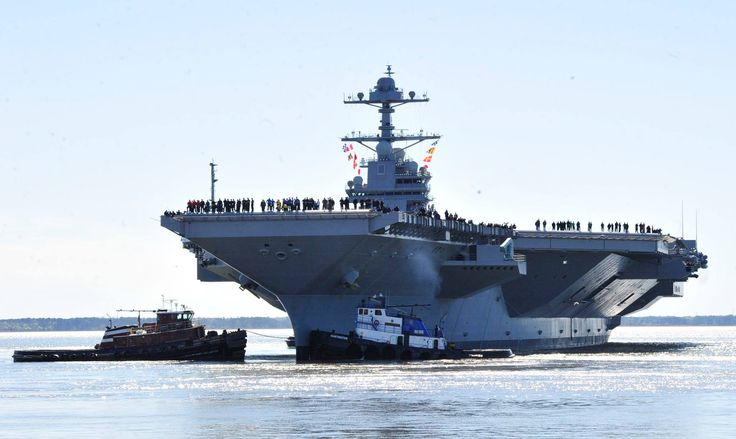 170408-KU586-0047 NEWPORT NEWS, Va. (April 8, 2017) - Pre-Commissioning Unit Gerald R. Ford (CVN 78) departs Huntington Ingalls Industries Newport News Shipbuilding for builder's sea trials off the coast. The first- of-class ship—the first new U.S. aircraft carrier design in 40 years—will spend several days conducting builder's sea trials, a comprehensive test of many of the ship's key systems and technologies. (U.S. Navy photo by Chief Mass Communication Specialist Christopher Delano)