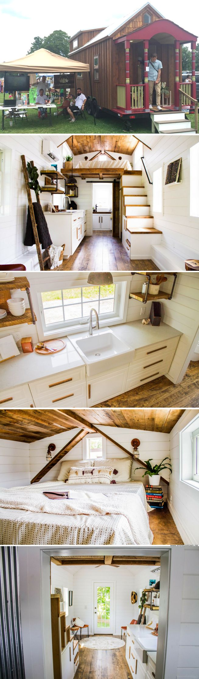 A beautiful farmhouse on wheels from Liberation Tiny Homes!