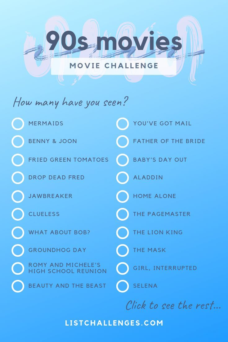200+ movies from the 90s ~ Movie Challenge. Family Movies, Dramas, War Movies, Ho … – # 90s #aus #Challenge #den #Dramen