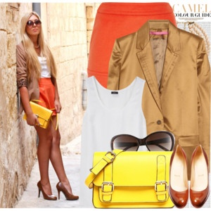 Love this look!: Light Pink Blazers, Orange Skirts, Colors Combos, Color Combos, Fall Colors, Fashion Outfits, Street Style, Camels, Bright Colors