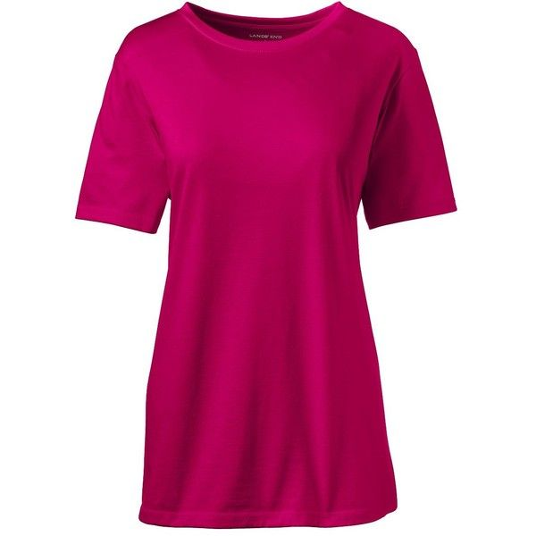 Lands' End Women's Petite Relaxed Supima Crewneck T-shirt ($9.99) ❤ liked on Polyvore featuring tops, t-shirts, pink, petite t shirts, cotton tees, pink t shirt, crewneck tee and pink top